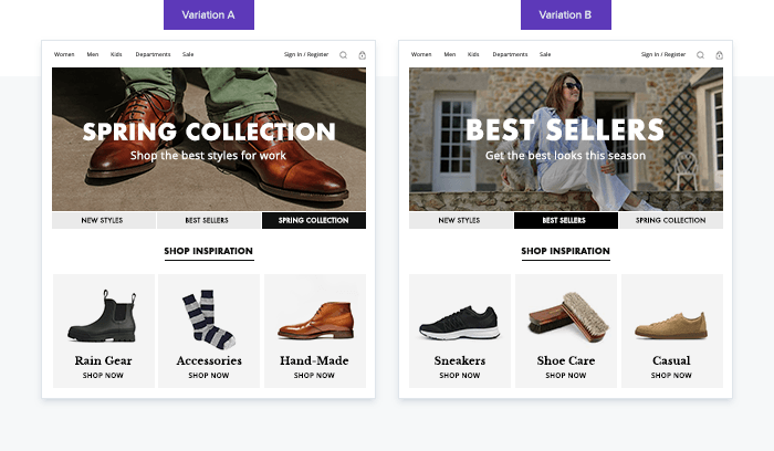 Dynamic Yieldアフィニティによるパーソナライズ事例(靴)